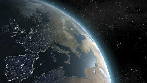 Earth (Highend) Sunrise Over Europe CGI HD Animation