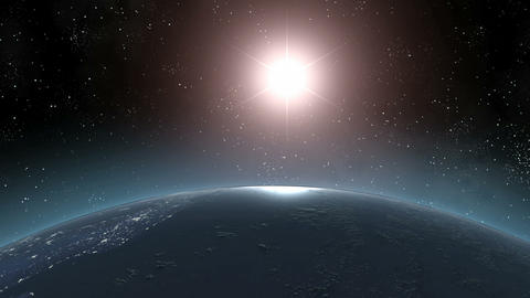 Earth (Highend) Sunrise Horizon Over MIddle America CGI HD Stock Video Footage