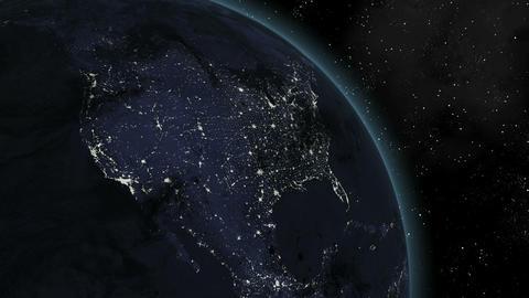 Earth (Highend) Sunrise Over North America CGI HD Stock Video Footage