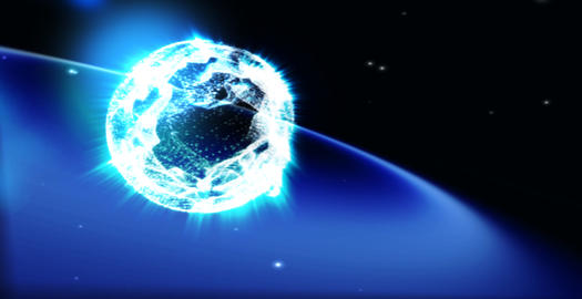 Dancing particles forms earth in starry space Stock Video Footage