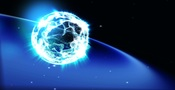 Dancing particles forms earth in starry space Animation