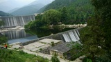 Dams in the mountains, full of lake water Footage