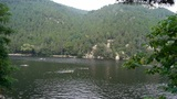 People swimming in lake with floats buoy,relying on Castle Peak,dense forests Footage