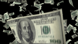 One hundred dollar banknotes explosion, matte Stock Video Footage