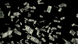 One hundred dollar banknotes explosion, matte Animation