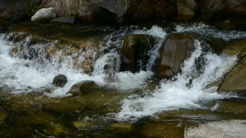 Mountain waterfall stream Stock Video Footage