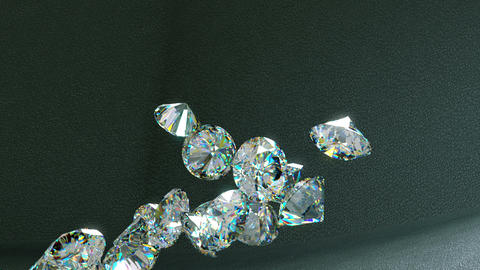 Large diamonds falling and rolling down over leather... Stock Video Footage