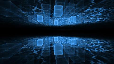 Dynamic Blue Translucent Cubical Horizon with Plasma Clouds Animation