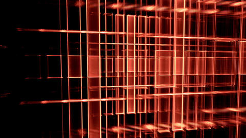 Dynamic Red Translucent Cubical Horizon, Grid CG動画素材