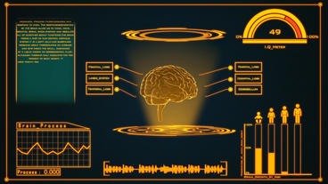 Science fiction medical design element rotating Brain and showing its functions After Effects Project