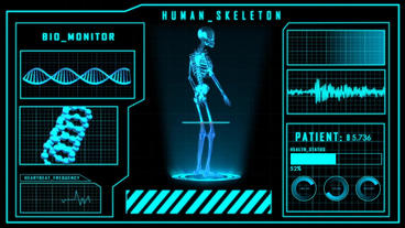 Science Fiction Medical Element Human Skeleton Searching Or Detecting HUD Panel stock footage