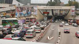 Traffic jam at tunnel entrance, bottleneck at the highway Footage