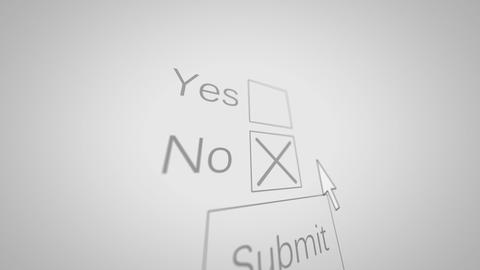 A Computer Mouse arrow marks NO checkbox and submit button Animation
