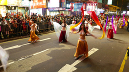 Belly dance group at the night parade ceremony, dancing Footage