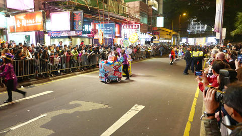Candy booth carts on parade, Chinese New Year celebration Footage