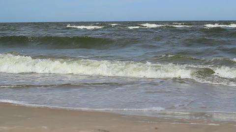 Sea Waves And Sand Castle Footage