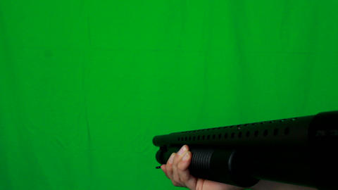 Close Shotgun Pull Out 1 - Green Screen Live Action