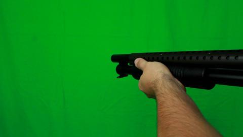 Close Shotgun Holding - Green Screen Live Action