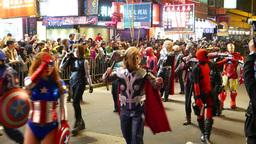 Super hero costumes at the Chinese New Year Celebration parade, HongKong Live Action