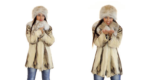 Young beautiful woman in winter cold Footage