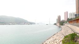Morning harbour panorama, Ting Kau Bridge and Tsing Yi island foggy perspective Footage