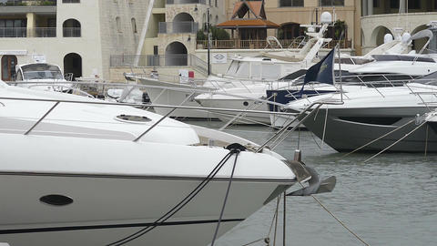 Super yachts moored at Portomaso Marina in St Julian, Malta Footage