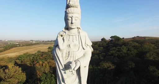 Buddha statue aerial shooting Footage