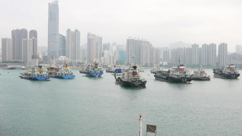 Moorage area in front of Tsuen Wan Town, from the top, panning shot Footage