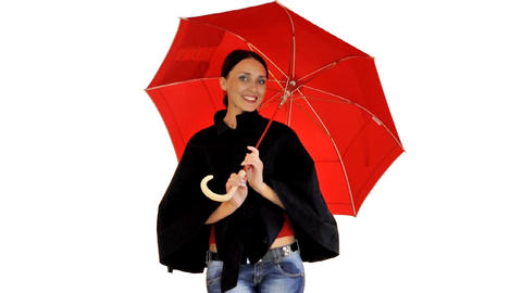 Nice girl isolated with umbrella Footage
