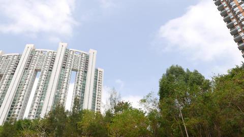 Panoramic shot of luxury apartment towers, Tsuen Wan, Hong Kong Footage