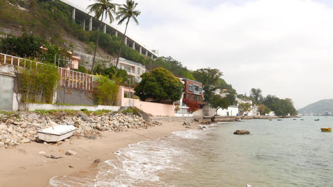 Ting Kau village and beach, Hong Kong. Panoramic shot Footage
