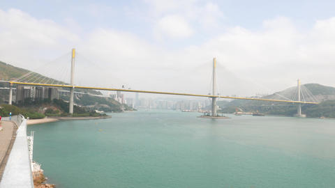 Huge cable-stayed bridge over harbour, Ting Kau Bridge at Hong Kong Footage