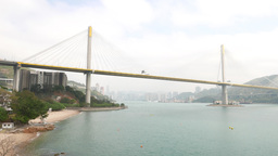 Panning shot, two huge bridges connecting to Tsing Yi island Footage
