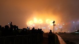 People watching gorgeous new year fireworks over Victoria harbour Footage