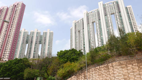 Golden Villa block and Hanley Villa blocks against blue cloudy sky Footage