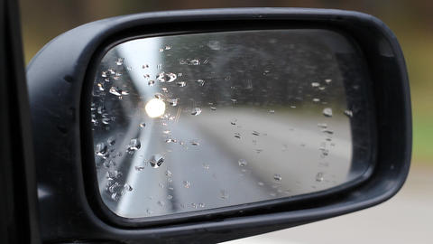Car Side Mirror With Lights On It Footage
