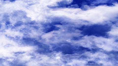 Very Blue Bright Clouds Moving In Horizontal Direction Footage