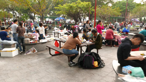 Overcrowded public picnic area, people resting in crowded place Footage
