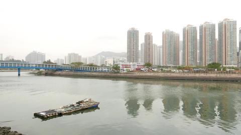 Tuen Mun river panorama, panning from Yau Oi Bridge to Wong Chu Road Bridge Footage