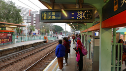 Next train display over station platform, Light Rail Transit system Footage