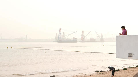 Simple Observation Terrace On Sea Beach, Cargo Terminal On The Horizon stock footage