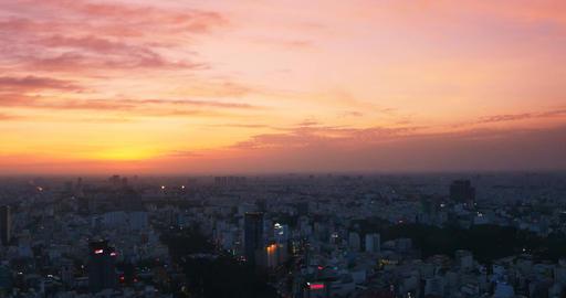Sunset over the city of Ho Chi Minh / Saigon, Vietnam Footage
