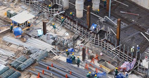 HO CHI MINH / SAIGON, VIETNAM - 2015: building construction site men working Footage