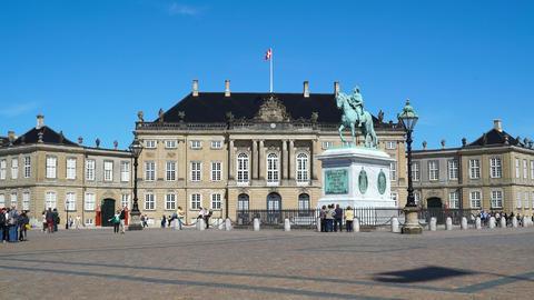 Amalienborg Palace, Copenhagen, Denmark Footage