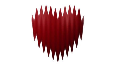 Distorted Love heart thumping beating on white background Live Action