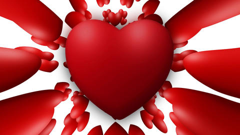 Valentine love heart thumping beating on white background Live Action