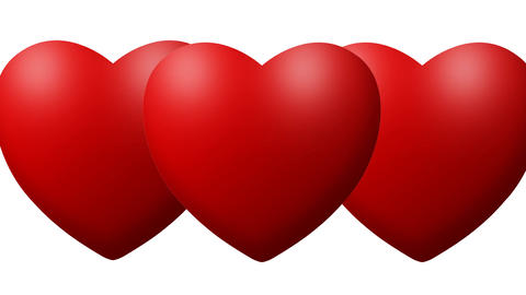Red Love hearts thumping beating on white background Footage
