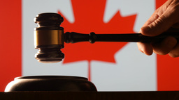 Judge Calling Order With Hammer And Gavel In Canadian Court With Flag Background stock footage