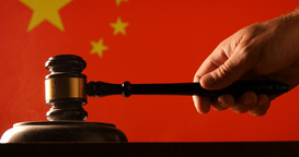 Judge Calling Order With Hammer And Gavel In China Court With Flag Background stock footage