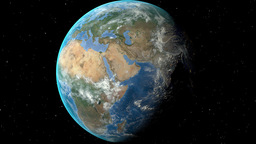 Night to day - rotating Earth. Zoom in on Albania outlined Animation
